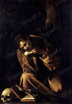 Saint Francis in Meditation - Caravaggio Michelangelo Merisi